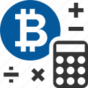 bitcoin, calculator, coin, cryptocurrency icon
