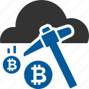 bitcoin, cloud, coin, cryptocurrency, mining icon