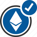accepted, ethereum, bitcoin, coin, cryptocurrency icon