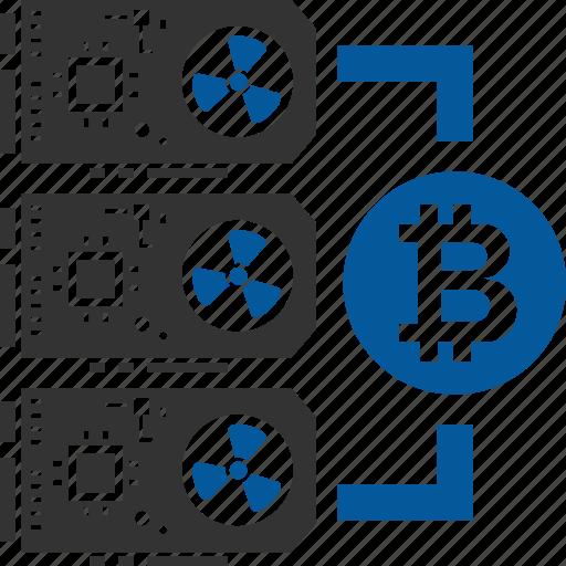 bitcoin, coin, cryptocurrency, hardware, minig icon