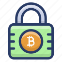 bitcoin encryption, bitcoin lock, bitcoin security, blockchain lock, cryptocurrency security, digital money protection icon