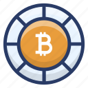 bitcoin, btc, coin, cryptocurrency coin, digital currency icon