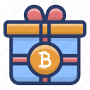 bitcoin gift, bitcoin present, blockchain gift, blockchain offering, cryptocurrency surprise icon