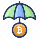 bitcoin insurance, bitcoin protection, bitcoin safety, blockchain insurance, insured cryptocurrency icon
