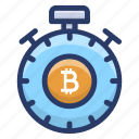 bitcoin stopwatch, bitcoin timepiece, bitcoin timer, blockchain stopwatch, cryptocurrency stopwatch icon