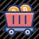 bitcoin mining cart, bitcoin pushcart, bitcoin trolley, cryptocurrency cart, mining cart icon