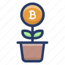 bitcoin plant growth, blockchain plant, cryptocurrency growth, digital currency growth, money growth icon