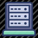 data rack, data server, data storage, databank, database storage, datacenter icon