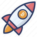 bitcoin business, bitcoin business launching, bitcoin business startup, cryptocurrency rocket, cryptocurrency startup icon