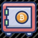 bank locker, bitcoin locker box, bitcoin security, financial safety, savings bitcoin icon