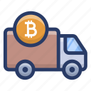 bitcoin delivery van, bitcoin vehicle, blockchain delivery, conveyance, cryptocurrency transport icon