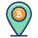 bitcoin location pin, bitcoin pin, bitcoin placeholder, cryptocurrency location, map marker icon