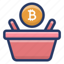 bitcoin bucket, bitcoin buying, bitcoin shopping, cryptocurrency shopping, online shopping icon