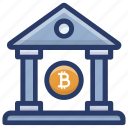 bitcoin bank, bitcoin institution, blockchain bank, depository house, financial institute icon