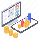 bitcoin analytics, bitcoin business, bitcoin capitalization, bitcoin investment, business analytics, online business icon