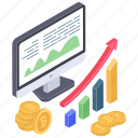 bar graph, bitcoin analytics, bitcoin growth, cryptocurrency chart, cryptocurrency graph icon