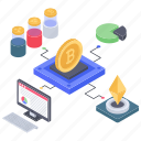 crypto data analytics, data infographic, online analytics, online business graph, online statistics icon