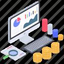 data search, financial data analysis, online analytics, online data monitoring, online statistics icon