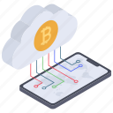 cloud app, cloud bitcoin, cloud cryptocurrency, cloud currency, digital money icon