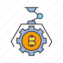 bitcoin, bot, cog, cryptocurrency, digital currency, gear, robot icon