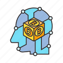 artificial intelligence, bitcoin, blockchain, cryptocurrency, decentralize, digital currency, head icon