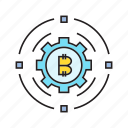 bitcoin, cog, cryptocurrency, digital currency, electronic money, gear, transaction icon