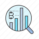 analytics, bitcoin, chart, cryptocurrency, graph, magnifier, scan icon