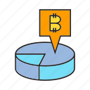 bitcoin, cryptocurrency, data, digital currency, finance, market share, pie chart icon