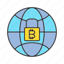 bitcoin, blockchain, cryptocurrency, globe, key, security, world icon