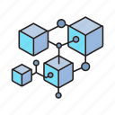 bitcoin, blockchain, box, cryptocurrency, cube, digital currency, network icon