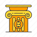bitcoin, cryptocurrency, digital currency, electronic money, finance, money, pillar icon