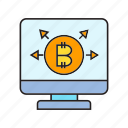 bitcoin, blockchain, computer, cryptocurrency, desktop, digital currency, electronic money icon