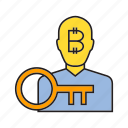 bitcoin, cryptocurrency, digital currency, investor, lock, privacy, security icon