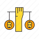 balance, bitcoin, blockchain, cryptocurrency, digital currency, hand, hold icon