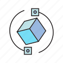 box, cube, rotate icon