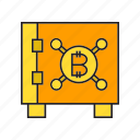 bitcoin, cryptocurrency, invest, lock, safe, save, security icon
