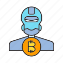 artificial intelligence, automation, bitcoin, blockchain, bot, cryptocurrency, robot icon