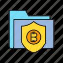 bitcoin, data, file, folder, privacy, security, shield icon