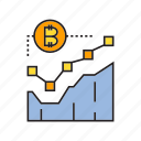 bitcoin, blockchain, chart, cryptocurrency, graph, plot, price icon