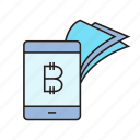 bitcoin, cryptocurrency, digital currency, mobile banking, payment, smart phone, transaction icon