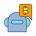 bitcoin, blockchain, bot, cryptocurrency, digital currency, robot, transaction icon