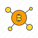 bitcoin, blockchain, cryptocurrency, decentralize, digital currency, link, network icon
