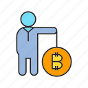 bitcoin, cryptocurrency, digital currency, electronic money, investor, person, trader icon