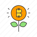 bitcoin, coin, cryptocurrency, digital currency, invest, plant, seed icon