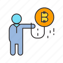bitcoin, bubble, cryptocurrency, digital currency, float, investor, transaction icon