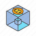 bitcoin, bitcoin mining, blockchain, box, cryptocurrency, cube, encryption icon