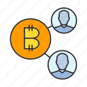 bitcoin, blockchain, cryptocurrency, digital currency, link, network, share icon