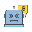artificial intelligence, bitcoin, blockchain, bot, cryptocurrency, digital currency, robot icon