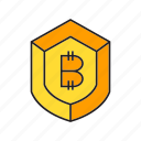 bitcoin, cryptocurrency, digital currency, privacy, protect, security, shield icon