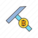 ax, axe, bitcoin, bitcoin mining, cryptocurrency, digital currency icon